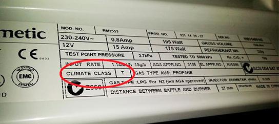 табличка с климатическим классом